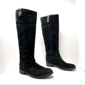 Tory Burch Oakridge Black Suede Riding Boots Tall